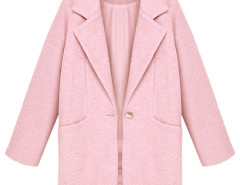 Pink Lapel Loose Woolen Coat Choies.com online fashion store United Kingdom Europe