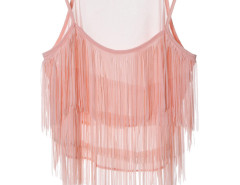 Pink Layer Tassel Transparent Cami Crop Vest Choies.com online fashion store United Kingdom Europe