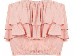 Pink Off Shoulder Layered Elastic Flounce Blouse Choies.com online fashion store United Kingdom Europe