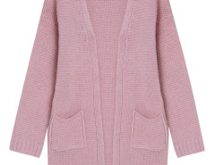 Pink Pocket Detail Long Sleeve Longline Knit Cardigan Choies.com online fashion store United Kingdom Europe