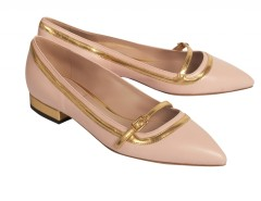 Pink Pointed Leather Ballet Flats With Contrasting Gold Borders Carnet de Mode online fashion store Europe France