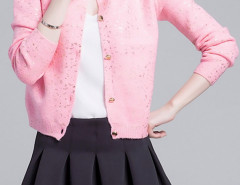 Pink Sequin Detail Button Up Long Sleeve Caidigan Choies.com online fashion store United Kingdom Europe