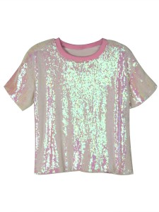Pink Sequin Detail Short Sleeve T-shirt Choies.com online fashion store United Kingdom Europe