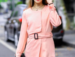Pink Single Breasted Belted Waist Slim Trench Coat Choies.com online fashion store United Kingdom Europe