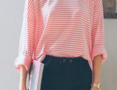Pink Stripe Print Long Sleeve Side Split Loose T-shirt Choies.com online fashion store United Kingdom Europe