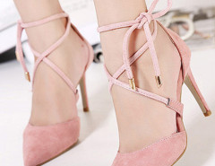 Pink Suedette Pointed Bow Tie Lace Up Heels Choies.com online fashion store United Kingdom Europe