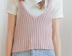 Pink V Neck Knit Vest Choies.com online fashion store United Kingdom Europe