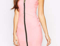 Pink V-neck Zipper Up Cap Sleeve Asymmetric Bodycon Dress Choies.com online fashion store United Kingdom Europe