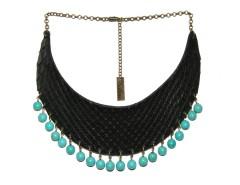 Plastron necklace - python & beads - turquoise Carnet de Mode online fashion store Europe France