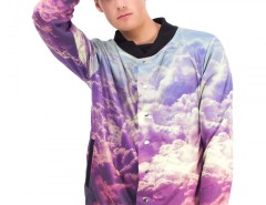 Printed Polyester Baseball Jacket - Clouds Carnet de Mode online fashion store Europe France