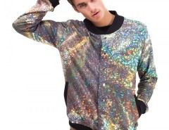 Printed Polyester Baseball Jacket - Hologram Carnet de Mode online fashion store Europe France