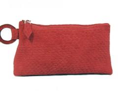 Printed Python Velvet Red Leather Clutch Carnet de Mode online fashion store Europe France