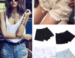 Promotion Denim Shorts Women Fashion Ladies Jean Shorts  3 Colors Tassel Hole Jeans Denim Pants with Casual Short Cndirect online fashion store China
