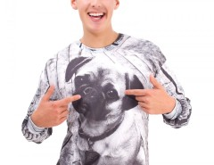 Pug Printed White Polyester Sweatshirt Carnet de Mode online fashion store Europe France