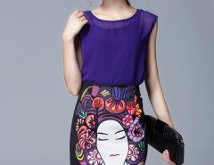 Purple Chiffon Top Cami Lining And Theatrical Mask Print Skirt Choies.com online fashion store United Kingdom Europe