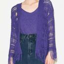 Purple Collarless Tassel Hem Knitted Cardigan And Vest Choies.com online fashion store United Kingdom Europe
