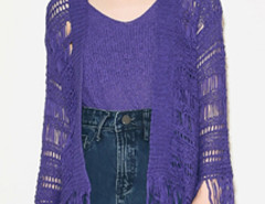 Purple Collarless Tassel Hem Knitted Cardigan And Vest Choies.com online fashion store United Kingdom Europe