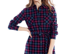Purple Contrast Plaid Print Belt Waist Longline Shirt Choies.com online fashion store United Kingdom Europe