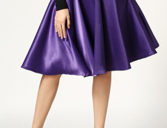 Purple High Waist Skater Midi Skirt Choies.com online fashion store United Kingdom Europe