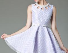 Purple Jacquard Bead Cut Out Front Bow Embellished A-line Dress Choies.com online fashion store United Kingdom Europe