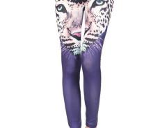 Purple Leopard Pattern High Waist Leggings Choies.com online fashion store United Kingdom Europe