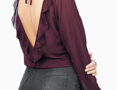 Purple V-neck Flounce Open Back Sheer Blouse Choies.com online fashion store United Kingdom Europe