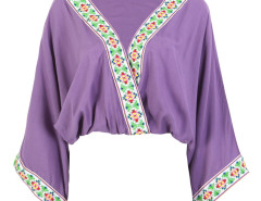 Purple V-neck Folk Embroidery Trims Drape Blouse Choies.com online fashion store United Kingdom Europe