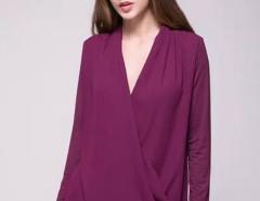 Purple Wrap Drape V-neck Long Sleeve Blouse Choies.com online fashion store United Kingdom Europe