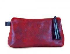 Purple/Red Metallic Suede Wallet With Leather Tassel Carnet de Mode online fashion store Europe France