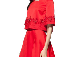 Red Bead Embellished Lace Floral Blouse And A-line Skirt Choies.com online fashion store United Kingdom Europe