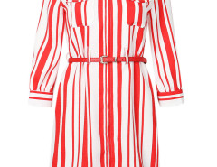 Red Block Stripe Print Belt Pocket Detail Zipper Dress Choies.com online fashion store United Kingdom Europe