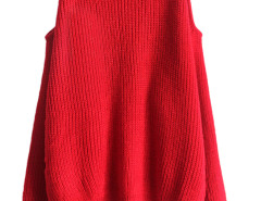 Red Cold Shoulder Long Sleeve Jumper Choies.com online fashion store United Kingdom Europe