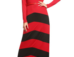 Red Contrast Chevron Print Belt Waist Maxi Dress Choies.com online fashion store United Kingdom Europe