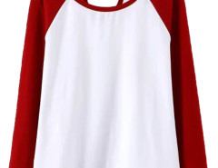 Red Contrast Cut Out Long Sleeve T-shirt Choies.com online fashion store United Kingdom Europe