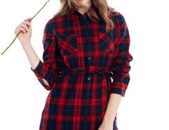 Red Contrast Plaid Print Belt Waist Longline Shirt Choies.com online fashion store United Kingdom Europe