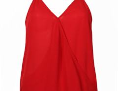 Red Contrast Strap Racer Back Wrap Vest Choies.com online fashion store United Kingdom Europe