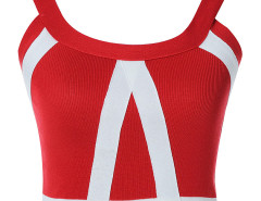 Red Contrast Stripe Back Zipper Crop Top Choies.com online fashion store United Kingdom Europe