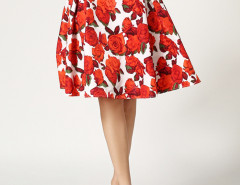 Red Floral Print Pleats Skirt Choies.com online fashion store United Kingdom Europe