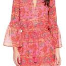 Red Folk Print Flare Long Sleeve Tie Waist Mini Dress Choies.com online fashion store United Kingdom Europe