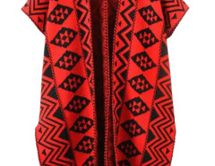 Red Geo Pattern Cap Sleeve Side Split Open Cardigan Choies.com online fashion store United Kingdom Europe