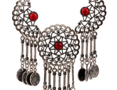 Red Half Moon And Sun Statement Drop Necklace Choies.com online fashion store United Kingdom Europe