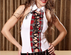 Red Halter Plaid Tie Up Front Belted Skater Mini Dress Choies.com online fashion store United Kingdom Europe
