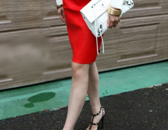 Red High Waist PU Pencil Skirt Choies.com online fashion store United Kingdom Europe