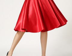 Red High Waist Skater Midi Skirt Choies.com online fashion store United Kingdom Europe