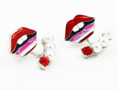 Red Jewelled Lip Earrings Choies.com online fashion store United Kingdom Europe