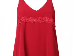 Red Lace Detail Double Strap Backless Vest Choies.com online fashion store United Kingdom Europe