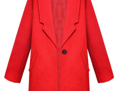 Red Lapel Single Button Woolen Coat Choies.com online fashion store United Kingdom Europe