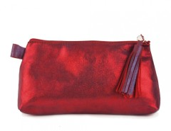 Red Metallic Suede Wallet With Leather Tassel Carnet de Mode online fashion store Europe France