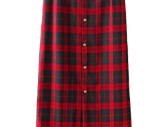 Red Plaid Button Front High Waist Skirt Choies.com online fashion store United Kingdom Europe