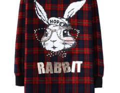 Red Plaid Cartoon Rabbit Bead Embellished Shift Dress Choies.com online fashion store United Kingdom Europe